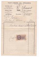 Rare Facture Timbrée Teinturerie Du Progrès G. Renard, 10 Rue Constantine, Tours, 1926 - 1900 – 1949