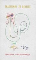 Traditions Et Qualité. Passeport Gastronomique. Toisé, Jean Cocteau 1959 Vin Bordeaux Bourgogne Alsace - Gastronomía