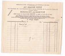 Facture Au Gagne Petit (anc. Bouruet-Aubertot), Bonneterie, Tissus, Mercerie, Paris, 1893 - Textile & Clothing