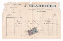 Facture Timbrée J. Charrière, Tapissier, Fauteuils, Sommiers, Passage Salinis, Auch (Gers), 1921 - 1900 – 1949