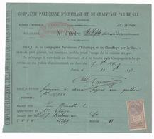 Reçu Cie Parisienne D'éclairage Et Chauffage Par Le Gaz, Prêt Gratuit D'un Fourneau Mobile Pour Cuisine Au Gaz, 1893 - 1800 – 1899