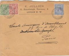 Pli De GB Expédié France, Par Continental Night Mail/ CS, 1911. - Postmark Collection
