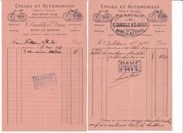 Lot De 2 Petites Factures Cycles Et Automobiles G. Candille & E. Danos, Mont-de-Marsan, 1906, 1908 - Sports & Tourism