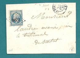 Dordogne - Le BUGUE Pour SARLAT. GC 669 + CàD Type 15 - Marcophilie (Lettres)