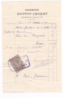 Facture Timbrée 1890 Pharmacie Hottot-Chomet, 21 Rue Du Faubourg Saint-Honoré, Paris - 1800 – 1899
