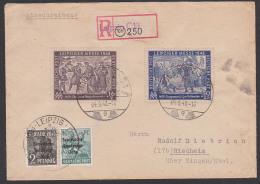 SBZ Leipziger Messe 1948 R-Brief Mit Zusatzfrankatur Aushilfs-R-Zettel 4.9.48 Nach Riedheim, Portogenau - Zone Soviétique