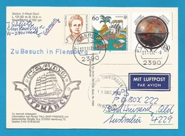 """Schiffspost , """" Sedov """" Zu Besuch In Flensburg - Postkarte - Post"""
