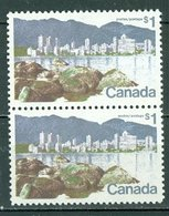 Canada 600ii Short $ Flaw In Pair MNH Vancouver BC Dollar Value 1972-76 A04s - Unused Stamps