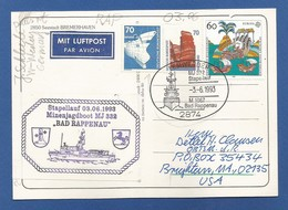 """Schiffspost , """" Bad Rappenau """" Stapellauf 03.06.1998 Minenjagdboot MJ 332 - Postkarte - Post"""