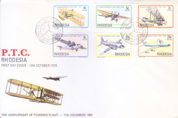 RHODESIA / ZINBABWE : FIRST DAY COVER : 75TH ANNIVERSARY OF POWERED FLIGHT : 17-12-1903 : COMPLETE SET OF 6v. - Zambezia