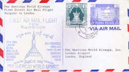 BURMA / MYANMAR : FIRST FLIGHT COVER : PAN AMERICAN AIRLINES : RANGOON TO LONDON : 12-09-1953 - Myanmar (Burma 1948-...)