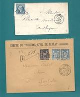 Dordogne - Sarlat. 2 Documents Dont Un Recommandé. - 1849-1876: Classic Period