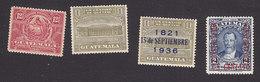 Guatemala, Scott #RA1-RA2, RA4, RA17, Mint Hinged, Postal Tax Stamps, Issued 1919-1941 - Guatemala