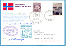 Ballonpost 1994 Carte Postal Illustre Par Ballon De Kirkenes. - Briefe U. Dokumente