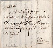 17 - REGNO DI SARDEGNA - LETTERA PREFILATELICA DA CAROUGE A GENOVA 1814 - PERIODO PROVVISORIO - 1. ...-1850 Prefilatelia