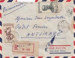 MADAGASCAR - LETTRE RECOMMANDE NOSSI-BE 3.06.1952 + 2 TIMBRES VERSO / 1 - Madagascar (1889-1960)