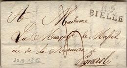 """20 - REGNO DI SARDEGNA - LETTERA PREFILATELICA """"107 BIELLE"""" 1817 - 1. ...-1850 Prefilatelia"""