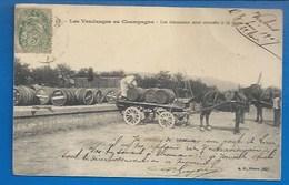 CHAMPAGNE - VENDANGES - LES TONNEAUX SONT AMENÉS À LA GARE - CACHET VERTUS  1907 - France