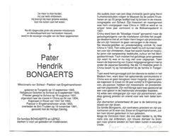 P 513. Pater H. BONGAERTS - °TONGERLO 1905 /SCHEUT/CHINA/EKSEL/ENGELMANSHOVEN -+ST-TRUIDEN 1991 - Images Religieuses