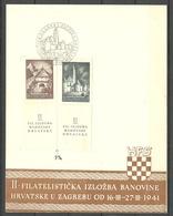 Jugoslavija KROATIA Kroatien 1941 Michel 347 - 348 Briefmarkenausstellung Zagreb Sonderblatt - 1931-1941 Royaume De Yougoslavie