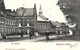Braine-le-Comte - Les Ecoles (animée, Attelage,  Edit. VG, 1902) - Braine-le-Comte