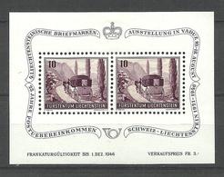 LIECHTENSTEIN 1946 Briefmarkenausstellung Vaduz Michel Bl. 4 Michel 248 MNH/MH (Block Is MH/*, Stamps Are MNH/**) - Blocs & Feuillets