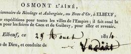 1814 OSMONT L'Ainé à Elbeuf LETTRE DE VOITURE ROULAGE TRANSPORTS  3 PIECES DE DRAP Pour PARIS  B.E.V.SCANS - 1800 – 1899