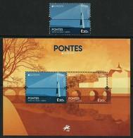 "PORTUGAL  - EUROPA 2018 -""PUENTES.-BRIDGES -BRÜCKEN -PONTS""-  SERIE De 1 V. + HOJITA BLOQUE - 2018"