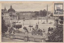 Cpa Ak Pk Maximum ?? Roma Plazza Del Popolo Place St Pierre Timbre Poste Vaticane - Places & Squares