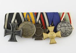5er Ordensspange, 1. Weltkrieg / III. Reich, Eisernes Kreuz, Dienstauszeichnung 1. Klasse U. A. - Germany