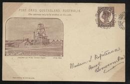 RRR  Queensland CP Entier Postal One Penny Victoria Repiqué Mine D'Or Brisbane Le 3/2/1904 Pour Toowoomba Le 4/2/04  TTB - Briefe U. Dokumente