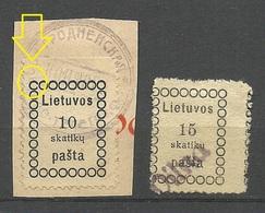 LITAUEN Lithuania 1918 Michel 1 - 2 Incl VILNA Line Cancel + ERROR Abart Variety - Lituanie