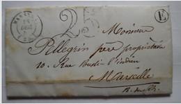 """Lettre - Taxe """"25"""" - 1852 - De Marsanne Pour Marseille - """"E"""" ( Voir En-tête ) - Storia Postale"""