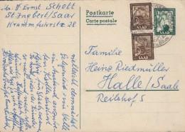SAARGEBIET  P 35 F + ZFr., Gestempelt: St. Ingbert 23.1.1953 - Entiers Postaux