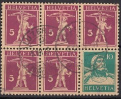 SCHWEIZ Heftchenblatt 27 Gestempelt, Tellknabe Und Tell 1928 - Zusammendrucke