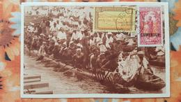 DOUALA AU CAMEROUN PIROGUES DE COURSE CPA CIRCULEE 1919 - Cameroon