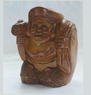 """Wooden Statuette """" Daikokuten """" - Asian Art"""