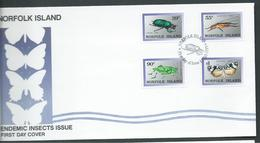 Norfolk Island 1989 Insect Set 4 On Official FDC - Norfolk Island