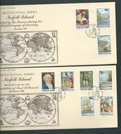 Norfolk Island 1986 - 1988 Bicentennial Series 17 Values On 4 FDC Official Unaddressed - Norfolk Island
