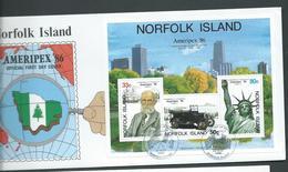 Norfolk Island 1986 Ameripex Miniature Sheet On FDC Official Unaddressed - Norfolk Island