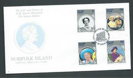 Norfolk Island 1985 Queen Mother Set Of 4 On FDC Official Unaddressed - Norfolk Island