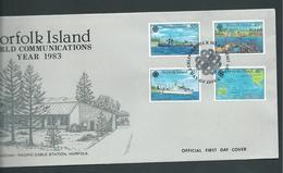 Norfolk Island 1983 World Communications Year Set Of 4 On FDC Official Unaddressed - Norfolk Island