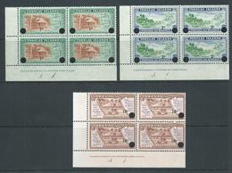 Tokelau 1967 Decimal Surcharge Set 3 In Imprint & Plate Number Corner Blocks 4 MNH / MLH - Tokelau