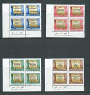 Tokelau 1969 History Of Tokelau Set 4 In Imprint & Plate Number Blocks Of 4 Fresh Mint - Tokelau