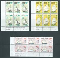 Tokelau 1970 Discovery Ships Set Of 3 In Imprint & Plate Number Blocks Of 6 MNH / MLH - Tokelau