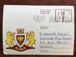 K5 Venda Ganzsache Stationery Entier Postal P 7 Von Sibasa Nach Sandton Elefant Elephant - Venda