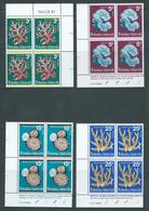 Tokelau 1973 Coral Set Of 4 In Blocks Of 4 , 3 With Imprint  MNH / MLH - Tokelau