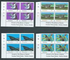 Tokelau 1977 Birds Set 4 In Imprint Blocks Of 4 MNH - Tokelau