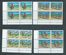 Tokelau 1979 Sports II Set 4 In Imprint Blocks Of 4 MNH - Tokelau