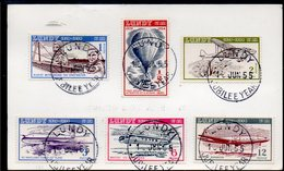 LUNDY ISLAND, 1954 SET 6 FLIGHT ON POSTCARD - Used Stamps